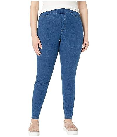 HUE Plus Size Curvy Fit Jean Leggings (Medium Wash) Women