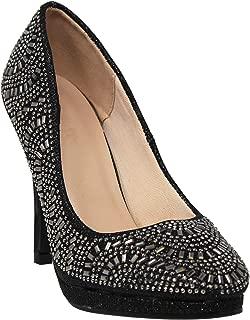 MVE Shoes Womens Stylish Comfortable Rhinestone Closed Toe Heel
