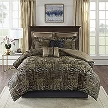 Madison Park Danville 8 Piece Chenille Jacquard Comforter Set Bedding, Cal King Size, Black/Gold