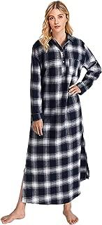 Women's Plaid Flannel Nightgowns Full Length Sleep Shirts