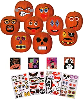 Halloween Pumpkin Decorating Stickers Jack O Lantern Face Adhesive 4 Sheets + 4 Boxes of Stickers
