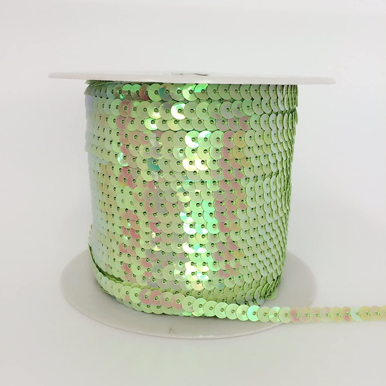 PEPPERLONELY Brand 100 Yard/Roll Metallic Flat Sequin Trim 5mm(3/16 Inch), Apple Green AB