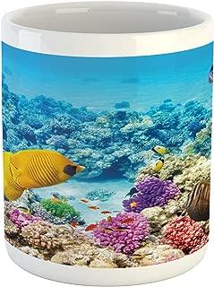 Lunarable Fish Mug, Marine Park Scenery with Sea Creatures Lagoon Jellyfish Scuba Dive Fauna Aqua Theme, Ceramic Coffee Mug Cup for Water Tea Drinks, 11 oz, Blue Yellow
