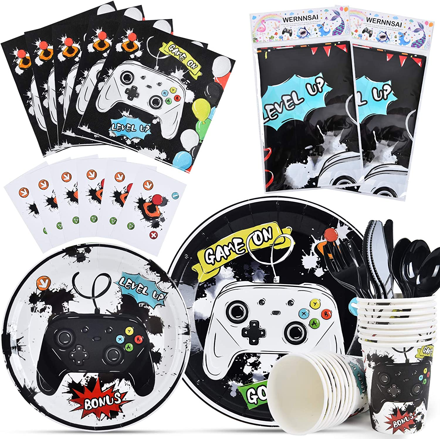 Watercolor Video Game Party Tableware Set - Gaming Party Supplie