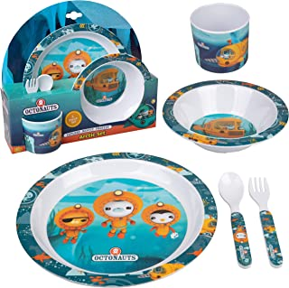 Octonauts 5 Pc Mealtime Feeding Set for Kids and Toddlers - Includes Plate, Bowl, Cup, Fork and Spoon Utensil Flatware - Durable, Dishwasher Safe, BPA Free
