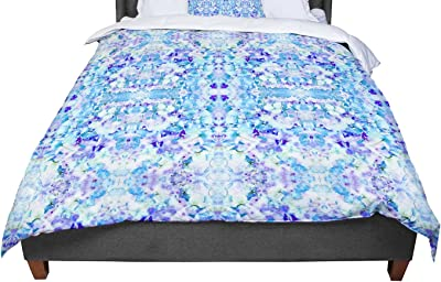 104 x 88, Kess InHouse Carolyn Greifeld Floral Fantasy Blue Reflection King Cotton Duvet Cover