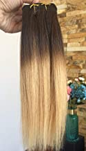10 Inches Ombre Straight Full Head 100% Real Clip in Human Hair Extensions (10 Inches- Dark brown to warm blonde)
