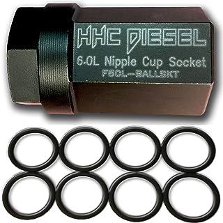 "HHC Diesel ~Ford 6.0L Diesel Nipple Cup Socket Kit~ O-Rings & Tool (8: Heavy Duty Viton O-Rings & 1/2"" Drive Nipple Cup Socket) F60L-BALLKIT"