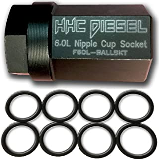 HHC Diesel ~Ford 6.0L Diesel Nipple Cup Socket Kit~ O-Rings & Tool (8: Heavy Duty Viton O-Rings & 1/2