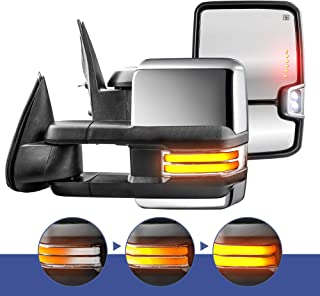 MOSTPLUS Power Heated Chrome Towing Mirrors for Chevy Silverado Suburban Tahoe GMC Serria Yukon 1999-2002 w/Sequential Turn light, Clearance Lamp, Running Light(Set of 2)