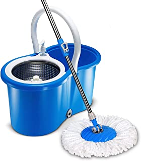 Stainless 360 degree Steel Hands Free Easy Wringing Microfiber Spin Mop and Bucket Cleaning set with wheels