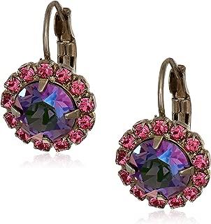 Women's Haute Halo French Wire Earrings, Purple, 1