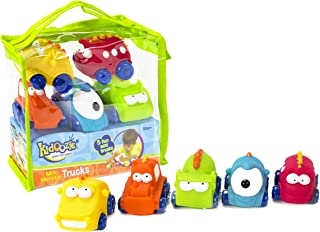 Kidoozie Mini Monster Trucks – Teaches Beneficial Roleplay and Employs Tactile Engagement – Includes Yellow, Orange, Blue, Green, and Red Trucks with Varying Facial Expressions – For Ages 18 Months and Up