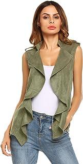Meaneor Women Fashion Lapel Open Front Long Sleeveless Blazer Vest Waistcoat