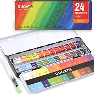 DUGATO Watercolor Paint Set, 24 Assorted Vibrant Colors (in Tin Box) with Metal Ring Bonus Water Brush Pen for Artists, Art Painting, Ideal for Watercolor Techniques