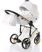 Sistema de viaje 3 en 1, silla de paseo, carrito con capazo y silla de coche y accesorios Junama Diamond Individual (04 Gold-Weiß, 3IN1)