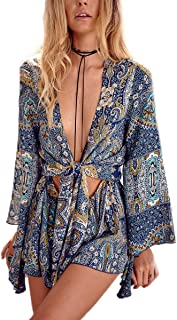 Women's Boho V Neck Print Romper Playsuit with Long Flare Sleeves