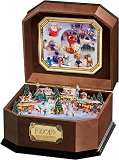 The Bradford Exchange Rudolph The Red-Nosed Reindeer Music Box with Art and 3D North Pole Scene Inside