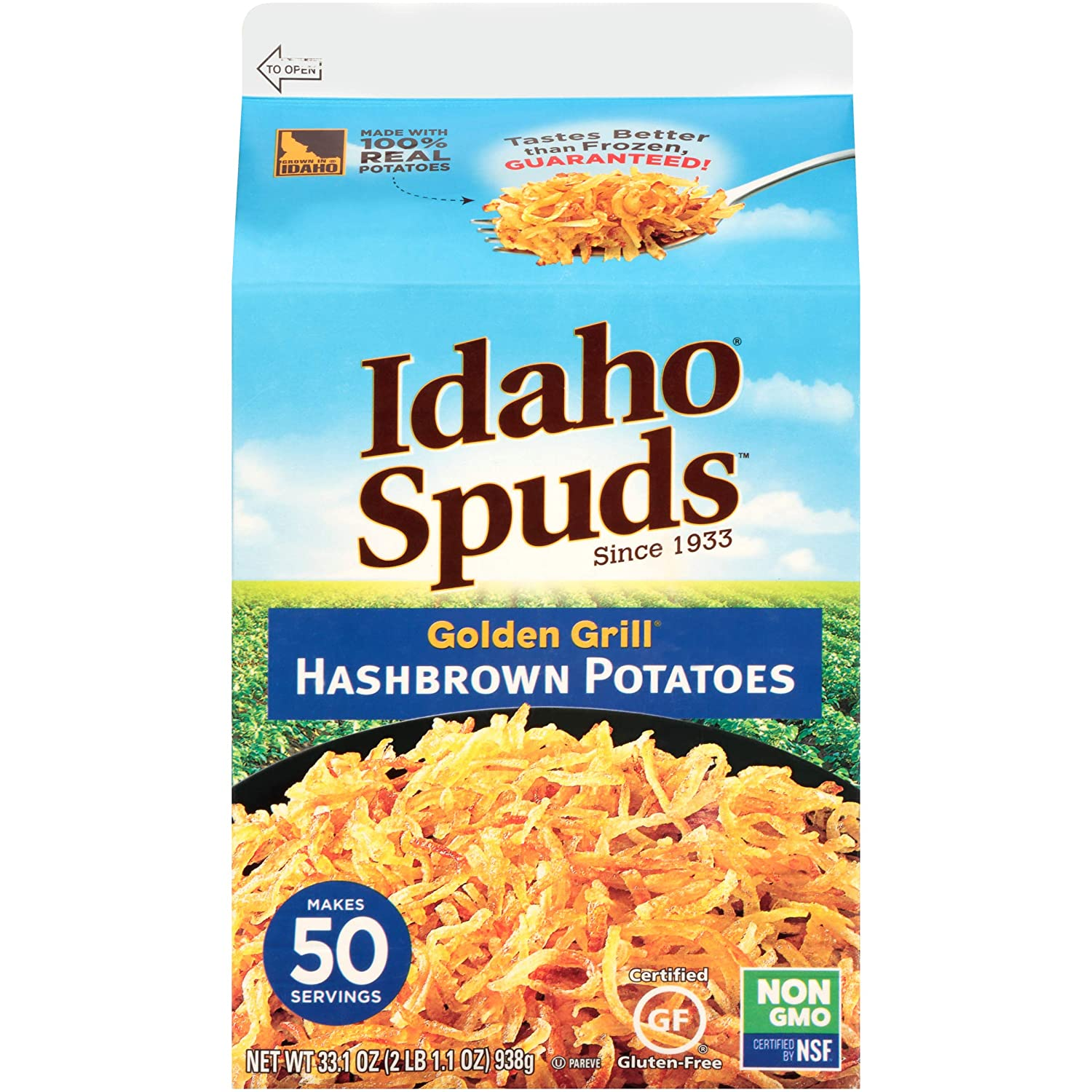 Idaho Spuds Premium Hashbrown Potatoes, 1 Gallon (1 Pack), Made from 100% Idaho Potatoes, No Artificial Colors or Flavors; Non-GMO Certified, Gluten Free & Kosher