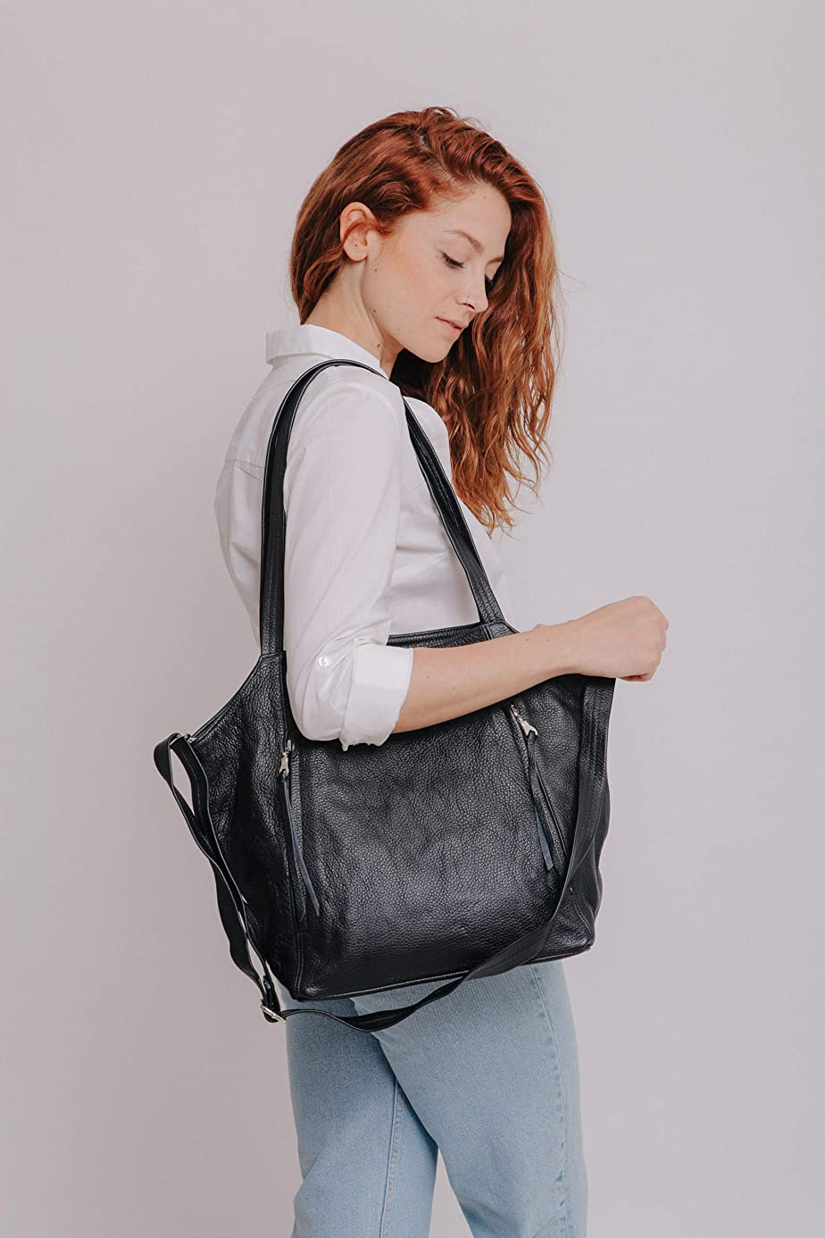 Women's Black Leather Crossbody, Tote and Shoulder Bag with Zippers, Handmade Large Trendy Office Bag, Everyday Casual Laptop Handbag Gift for Her bnl6080926