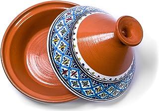 وعاء تاجين صناعة يدوية ومرسوم يدويًا من كامساه | أواني سيراميك مغربي للطهي و الطهي البطيء (كبير، تركواز)