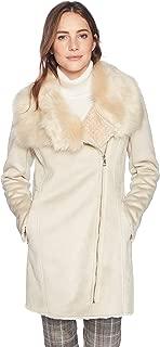 Calvin Klein 女士不对称拉链细节和人造毛皮镶边衣领