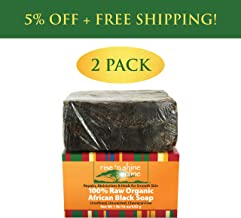 Raw African Black Soap Bar with Coconut Oil and Shea Butter - Body Wash, Shampoo and Face Wash - Helps Clear Dry Skin, Acne, Eczema, Psoriasis - Authentic Organic Homemade Soap Bar from Ghana (2 Pack)