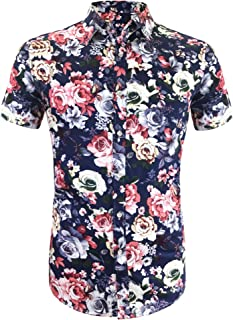 Daupanzees Men's Hawaiian Flower Shirts Aloha Printed Short Sleeve Button Down Shirt