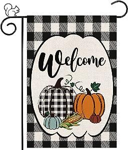 Welcome Fall Garden Flag, Buffalo Check Plaid Pumpkin Autumn Yard Flags 12x18 Double Sized Rustic Thanksgiving Harvest Farmhouse Outdoor Decoration
