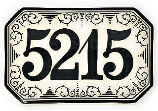 CERAMICHE D'ARTE PARRINI- Ceramica italiana artistica, numero civico in ceramica 23x15 personalizzato, decorazione ricciol...