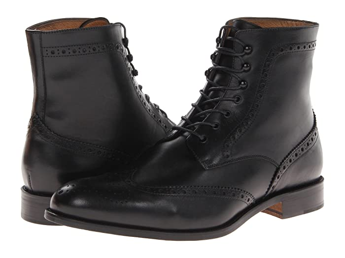 Steampunk Boots & Shoes, Heels & Flats Massimo Matteo 7-Eye Wing Boot Black Mens Shoes $189.00 AT vintagedancer.com