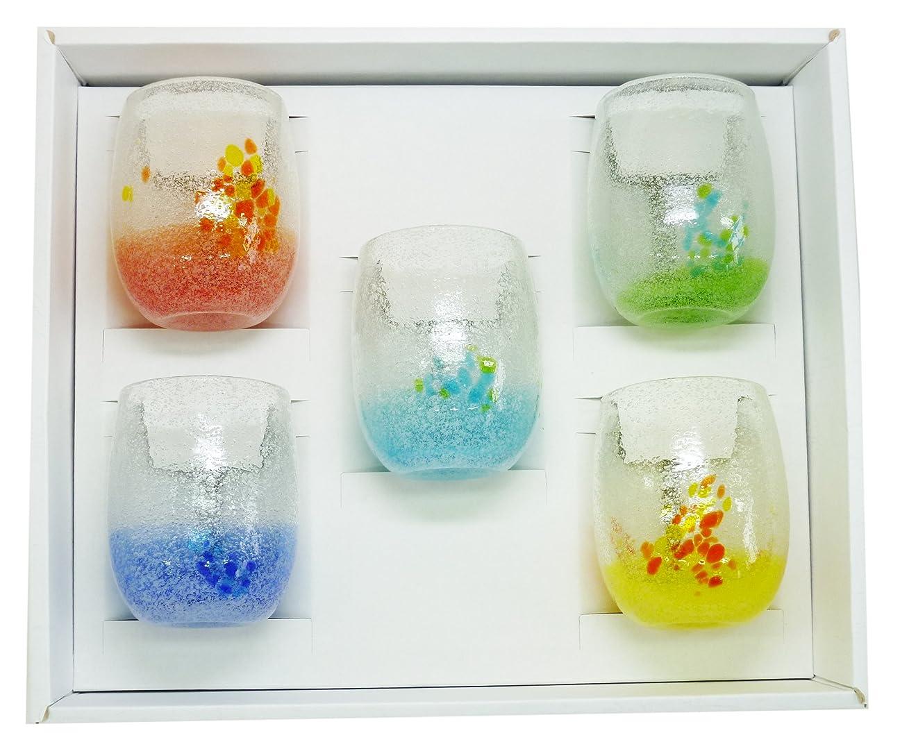 資格飲料最初アールジーシー(RGC) 泡花見グラス (オレンジ?青?水?緑?黄) φ7cm ギフトセット 5個入