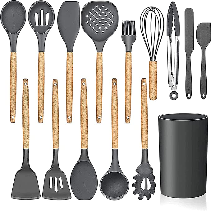 LIANYU 15-Piece Kitchen Silicone Cooking Utensils Set with Holder