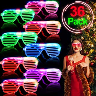 36 Pack LED Light Up Glasses Glow in The Dark Party Favors Shutter Shades Glasses Shades LED Christmas Gift Flashing Show Toys for Glow Events Rave Neon Xmas New Year Party Supplies for Kids Adults