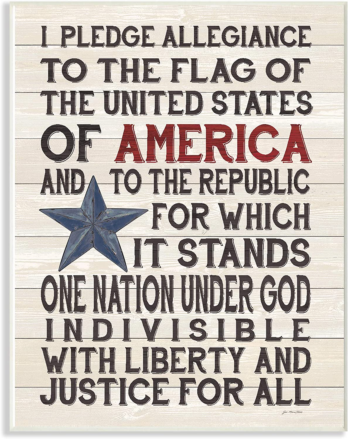 Stupell Industries Pledge of Allegiance Stars and Stripes Americana Rustic Wood Look Sign Wall Plaque, 10 x 15, Multi-Color