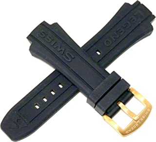 Swiss Legend 17MM Black Silicone Rubber Watch Strap and Gold Stainless Buckle fits 40mm Neptune Watch