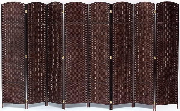 Legacy Decor 8 Panel Diamond Weave Fiber Room Divider Brown Color