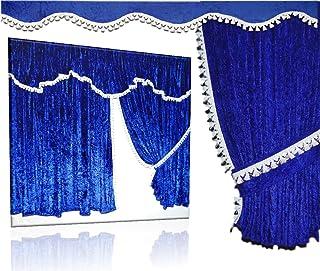 Mandys Truckershop LKW Gardinen Set 04/WF aus Pannesamt Royalblau mit Bommel weiß passend für Mercedes Actros