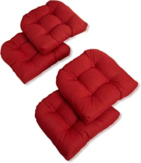Blazing Needles Outdoor Spun Poly 19-Inch by 19-Inch by 5-Inch All Weather UV Resistant U-Shaped Cushions, Paprika, Set of 4