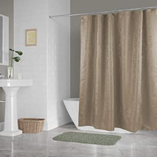 DII Everyday 100% Polyester Extra Long Bath Fabric Shower Curtain for Bathroom, 72x72 - Cool Brown Damask