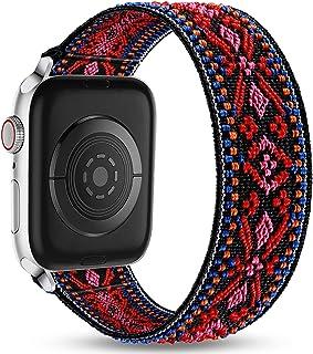 Ouwegaga Vervangende Bandje Compatibel met Apple Watch 44mm 42mm 40mm 38mm, Zachte Nylon Elastische Bandje Rekbaar Bandje ...
