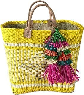 Mar Y Sol Ibiza Tassel Market Tote Beach Bag, Sunflower Yellow Multi