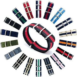 CIVO Watch Bands NATO Premium Ballistic Nylon Watch Strap Stainless Steel Buckle (Black/Crimson, 18mm)