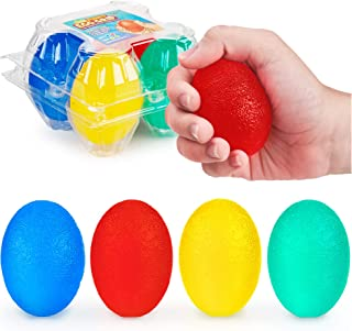 Funky Egg Grippers Set 4 Piece - Stress Relief Squishy Bouncing Ball Toy - 2 Soft 2 Firm Hand Strengthening - Finger Resistance Squeeze Easter Eggs Gift   Autism, ADHD and EDC Toys for Kids and Adult
