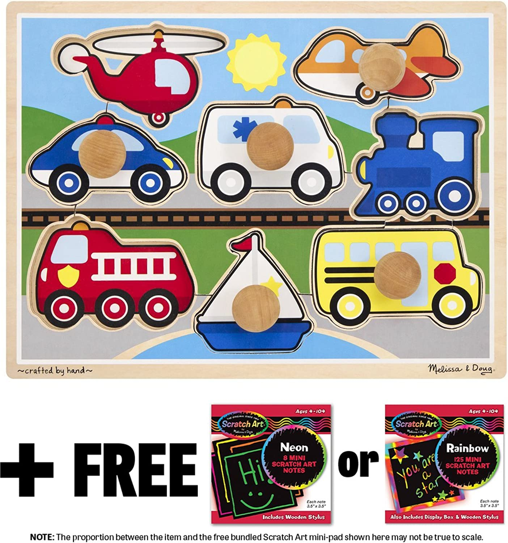 Vehicles  Jumbo Knob Puzzle + FREE Melissa & Doug Scratch Art MiniPad Bundle [89807]