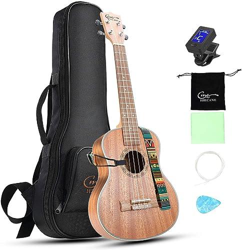 Hricane Concert Ukulele 23 inch UKS-2, 4 Strings Ukeleles For Beginners, Sapele Hawaiian Ukele with Ukulele Case and ...