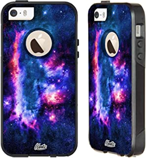 Unnito iPhone 5 Case – Hybrid Commuter Case | Slim Cover with Hard Shell Design and Soft Inner Layer Compatible with iPhone 5S / SE Black Case - (Nebula Sci Fi)