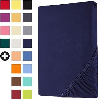 Heim24h® Drap-Housse revêtement Matelas Bleu Marine 180x200-200x200 cm d'une Hauteur de 18 à 30 cm 100% Coton Qualité Supé...