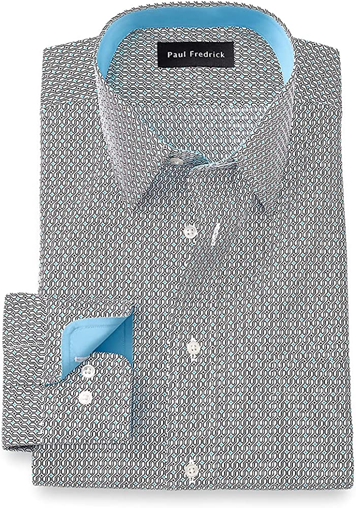 Paul Fredrick Men's Tailored Fit Non-Iron Cotton Deco Dress Shirt