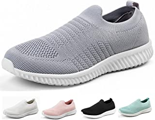 Akk Walking Shoes for Women - Slip on Memory Foam Lightweight Sneakers Grey